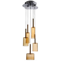 Artcraft Lighting Berlinetta 5 Light Chandelier with Amber Glass AC1345AM