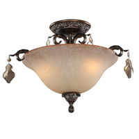 Vienna 3 Light 21 inch Multi Tone Bronze Semi Flush Mount Ceiling Light