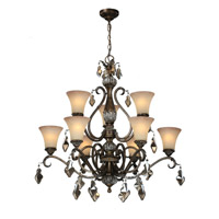 Artcraft Lighting Vienna 9 Light Chandelier in Bronze w/ Silver Highlights AC1469