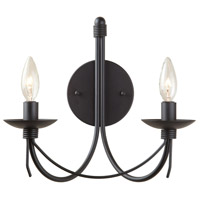Wrought Iron 2 Light 12 inch Ebony Black Wall Bracket Wall Light