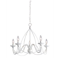 Wrought Iron 5 Light 19 inch Antique White Chandelier Ceiling Light