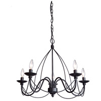 Wrought Iron 5 Light 19 inch Ebony Black Chandelier Ceiling Light