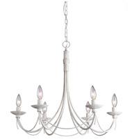 Artcraft Lighting Wrought Iron 6 Light Chandelier in Antique White AC1486AW
