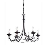 Wrought Iron 6 Light 25 inch Ebony Black Chandelier Ceiling Light