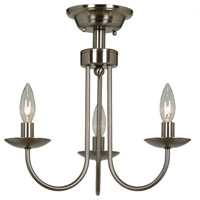 Wrought Iron 3 Light 16 inch Stainless Steel Flush Mount Ceiling Light