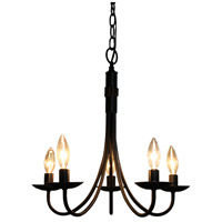 Wrought Iron 5 Light 17 inch Ebony Black Pot Rack Chandelier Ceiling Light