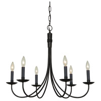Wrought Iron 6 Light 25 inch Black Chandelier Ceiling Light in Ebony Black