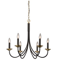 Wrought Iron 6 Light 25 inch Semi Gloss Black and Vintage Brass Chandelier Ceiling Light