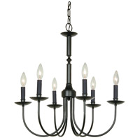 Wrought Iron 6 Light 23 inch Ebony Black Pot Rack Chandelier Ceiling Light
