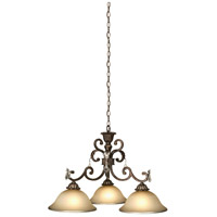 Florence 3 Light 31 inch Multi Tone Bronze Chandelier Ceiling Light