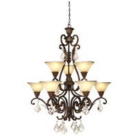 Florence 9 Light 32 inch Multi Tone Bronze Chandelier Ceiling Light
