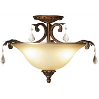 Florence 3 Light 16 inch Multi Tone Bronze Semi Flush Mount Ceiling Light