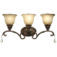 Florence 3 Light 25 inch Multi Tone Bronze Bathroom Vanity Wall Light