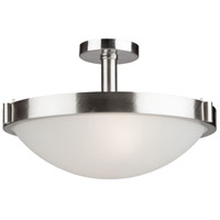 Boise 3 Light 17 inch Brushed Nickel Semi Flush Ceiling Light