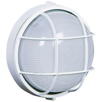 Marine 1 Light 8 inch White Outdoor Wall Sconce, Small, Round