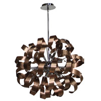 Artcraft Lighting Bel Air 12 Light Pendant in Brushed Copper and Chrome AC601CO