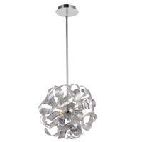 Artcraft AC626CH Bel Air 3 Light 13 inch Chrome Mesh Leaves Pendant Ceiling Light