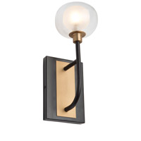Artcraft AC7001BG Grappolo 1 Light 8 inch Matte Black and Vintage Gold Wall Sconce Wall Light
