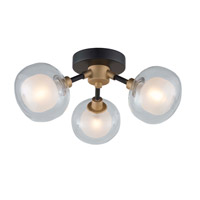 Grappolo 3 Light 14 inch Matte Black and Vintage Gold Flush Mount Ceiling Light