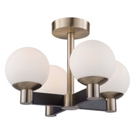Artcraft AC7095VB Tilbury 4 Light 19 inch Matte Black and Brass Semi-Flush Mount Ceiling Light