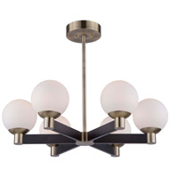 Artcraft AC7096VB Tilbury 6 Light 28 inch Matte Black and Brass Chandelier Ceiling Light