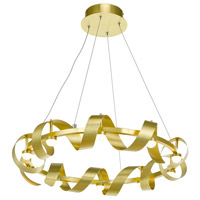 Rolling Hills LED 26 inch Brushed Brass Chandelier Ceiling Light