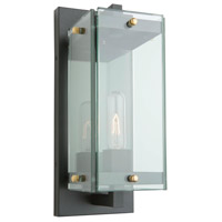 Bradgate 1 Light 16 inch Matte Black and Harvest Brass Outdoor Wall Light