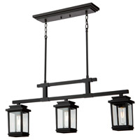 Freemont 3 Light 35 inch Black Outdoor Chandelier