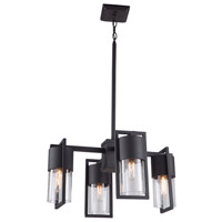 Artcraft AC9148BK Bond 4 Light 26 inch Matte Black and Brass Outdoor Chandelier
