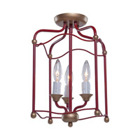 Artcraft Lighting Scarlet 3 Light Semi Flush in Dark Red CL1350RD