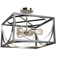Corona 3 Light 13 inch Black and Polished Nickel Semi Flush Ceiling Light