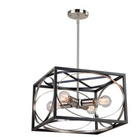 Artcraft CL15094 Corona 4 Light 15 inch Black and Polished Nickel Chandelier Ceiling Light