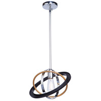 Artcraft CL15111 Cosmic 1 Light 13 inch Dark Bronze and Chrome and Satin Brass Pendant Ceiling Light