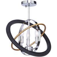 Artcraft CL15112 Cosmic 3 Light 15 inch Dark Bronze and Chrome and Satin Brass Semi Flush Ceiling Light