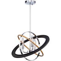 Artcraft CL15113 Cosmic 3 Light 18 inch Dark Bronze and Chrome and Satin Brass Chandelier Ceiling Light
