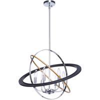 Artcraft CL15116 Cosmic 6 Light 24 inch Dark Bronze and Chrome and Satin Brass Chandelier Ceiling Light