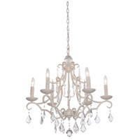 Artcraft CL1576AW Vintage 6 Light 25 inch Antique White Chandelier Ceiling Light