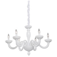 Artcraft Lighting Milk Glass 6 Light Chandelier in White CL1806