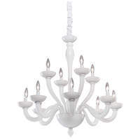 Artcraft Lighting Milk Glass 12 Light Chandelier in White CL1812