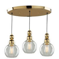 Etobicoke 3 Light 19 inch Gold Pendant Ceiling Light