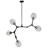 Organic 5 Light 30 inch Vintage Brass Chandelier Ceiling Light