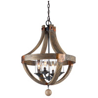 Artcraft Lighting Hockley 4 Light Chandelier in Authentic Pine w/ Copper Plates JA484