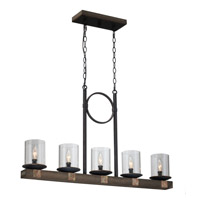 Hockley 5 Light 37 inch Wood and Copper Island Light Ceiling Light