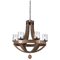 Artcraft Lighting Hockley 6 Light Chandelier in Authentic Pine w/ Copper Plates JA486