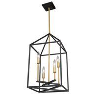 Artcraft SC13074 Twilight 4 Light 12 inch Matte Black and Harvest Brass Chandelier Ceiling Light