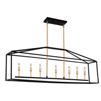 Artcraft SC13077 Twilight 7 Light 49 inch Matte Black and Harvest Brass Island Light Ceiling Light