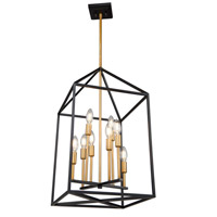 Artcraft SC13078 Twilight 8 Light 18 inch Matte Black and Harvest Brass Chandelier Ceiling Light