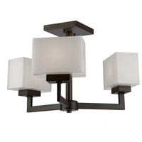 Cube 3 Light 10 inch Oil Rubbed Bronze Semi Flush Mount Ceiling Light
