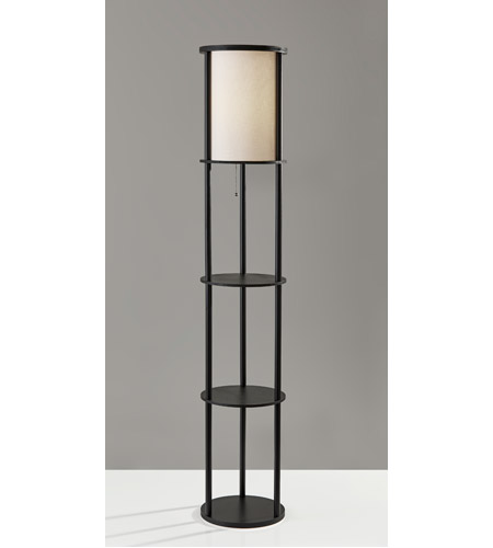 Adesso 3117-01 Stewart 63 inch 150 watt Black Shelf Floor Lamp Portable Light photo