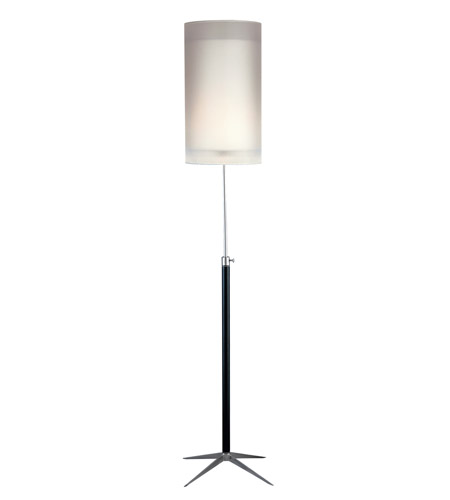 Adesso Santa Cruz 1 Light Floor Lamp in Black/Steel 3311-01 photo